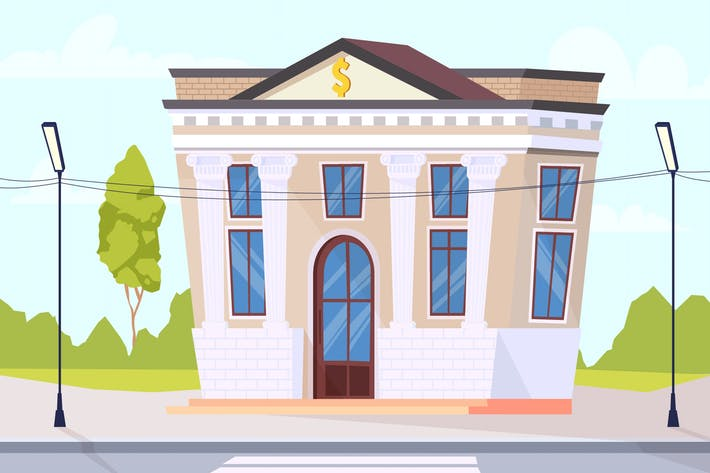 Outside Bank - Illustration Hintergrund