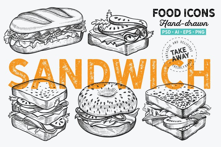 Thumbnail for Sandwich Fast Food Hand-Drawn Graphic
