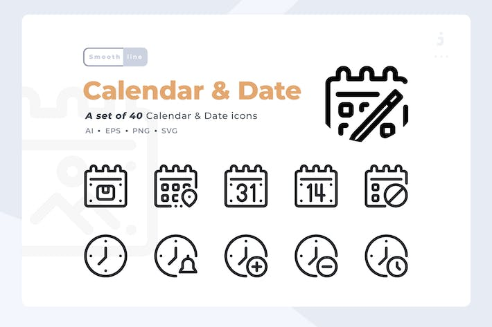 Cover Image For Smoothline - 40 Calendar and Date icon set