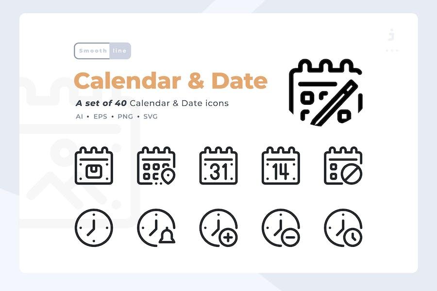 Smoothline - 40 Calendar and Date icon set