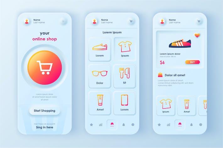 Thumbnail for Shopping Neumorphic Mobile App UI Kit