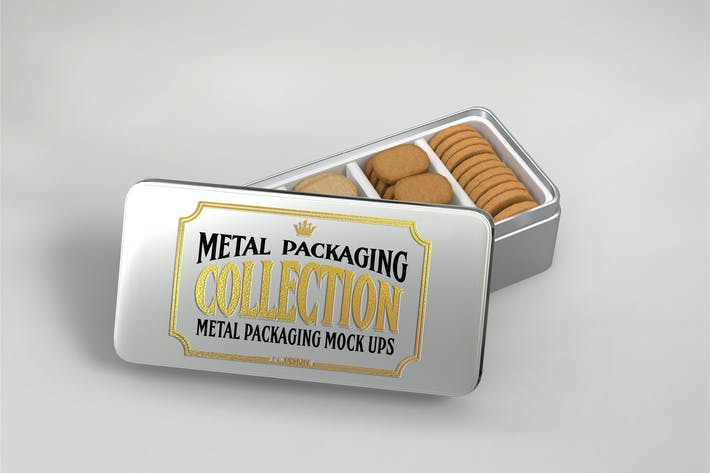 Thumbnail for Metal Rectangular Cookie Tin Mockup