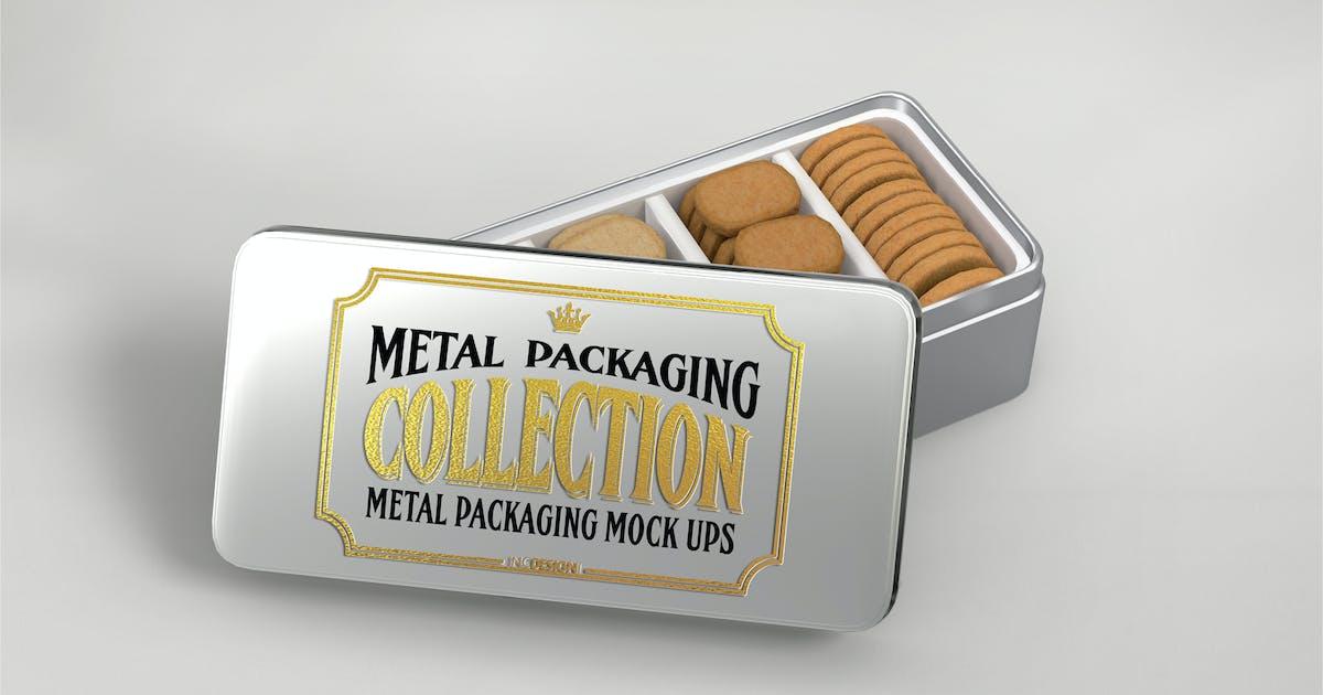 Download Metal Rectangular Cookie Tin Mockup by ina717