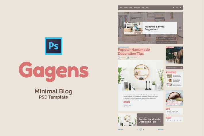Thumbnail for Gagens - Colorful Blog PSD Template