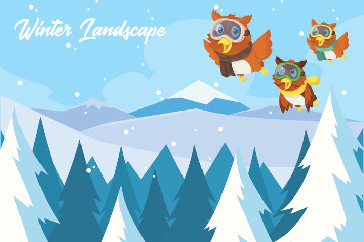 Thumbnail for Winter Landscape - Vector Illustration