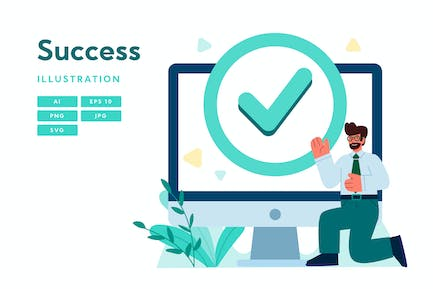Success Illustration With Man and Computer