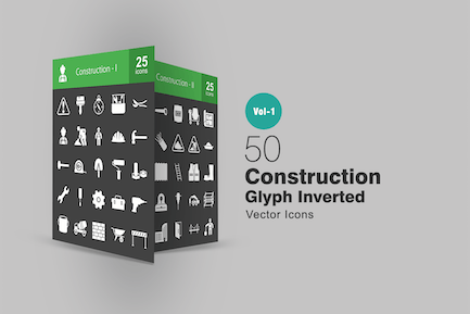 50 Construction Glyphe Inverted Icons