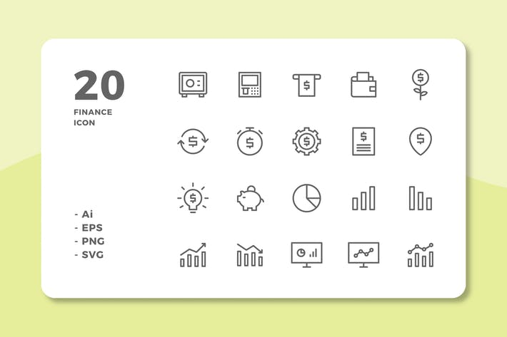 Thumbnail for 20 Finance Icons (Line)