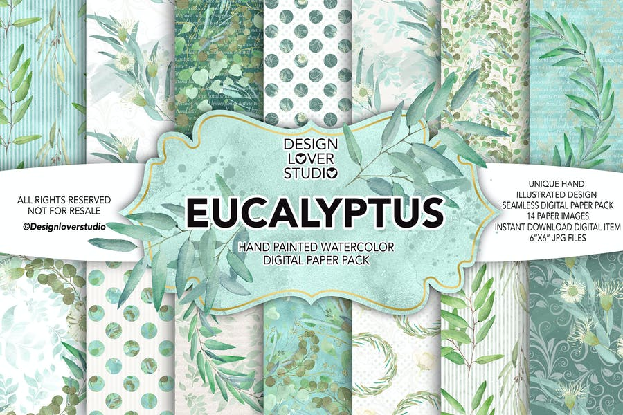 Watercolor Eucalyptus digital paper pack