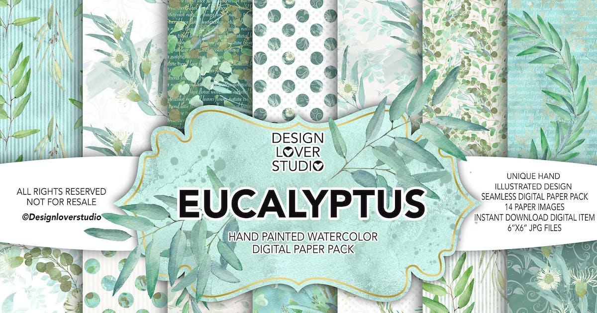 Download Watercolor Eucalyptus digital paper pack by designloverstudio
