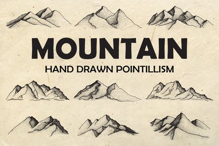 Berg - Handgezeichneter Pointillismus + BONUS