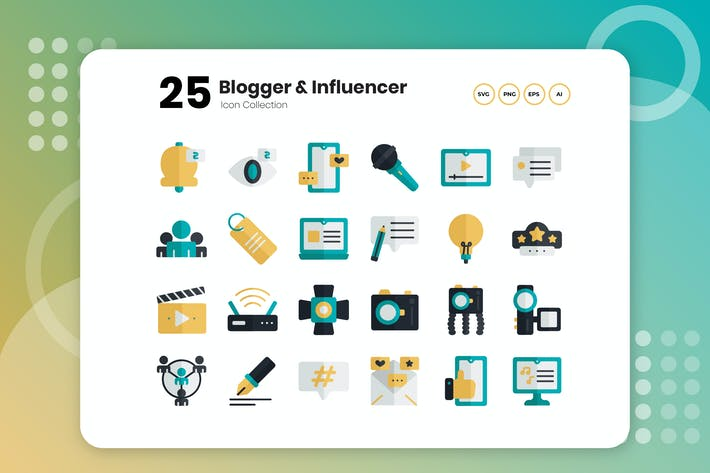 25 Blogger & Influencer Flat Icon
