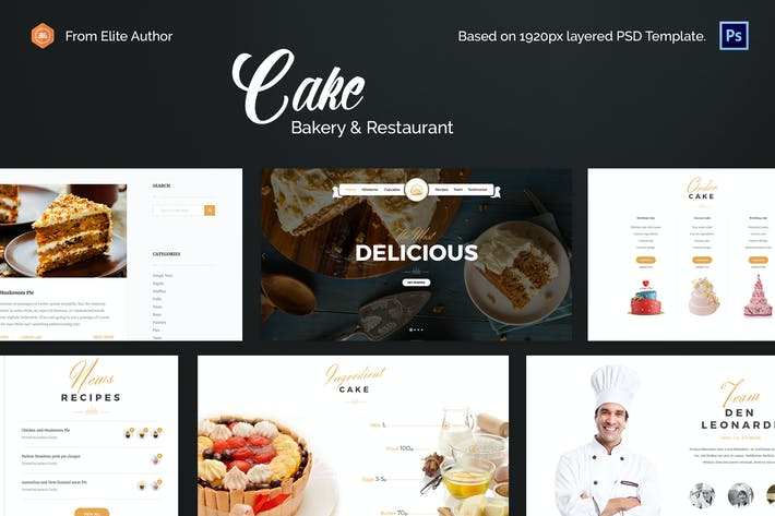 Thumbnail for Cake - Easy & Slight Bakery PSD Template