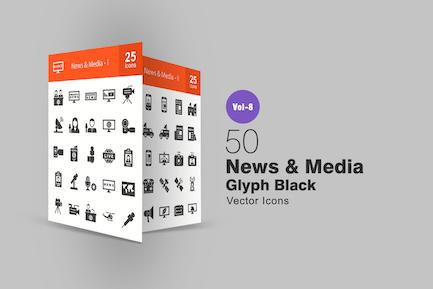 50 Íconos de glifo de noticias y Medios de comunicación