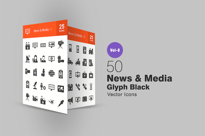 Thumbnail for 50 News & Media Glyph Icons