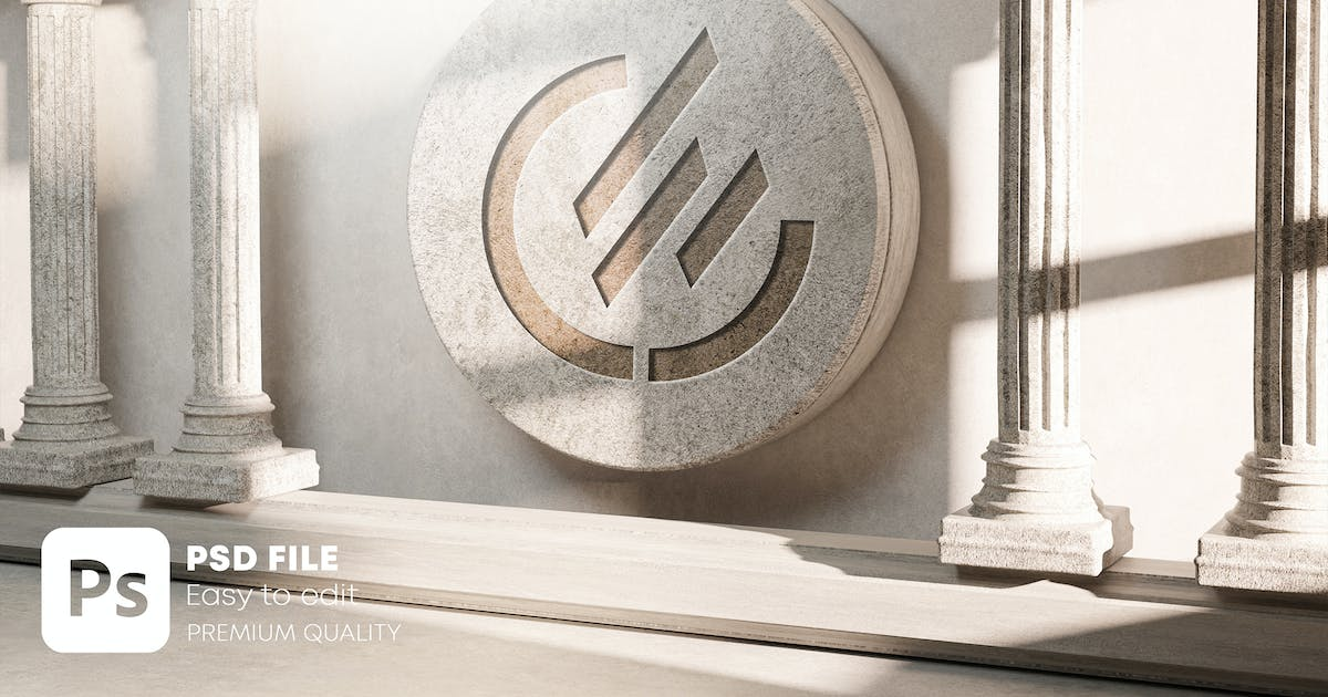 Download Carved Logo Mockup on Stone Classic Pillar Column by Nmotion