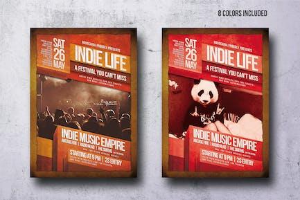 Vintage Indie Party Flyer - 8 Colors - A4 & US Let