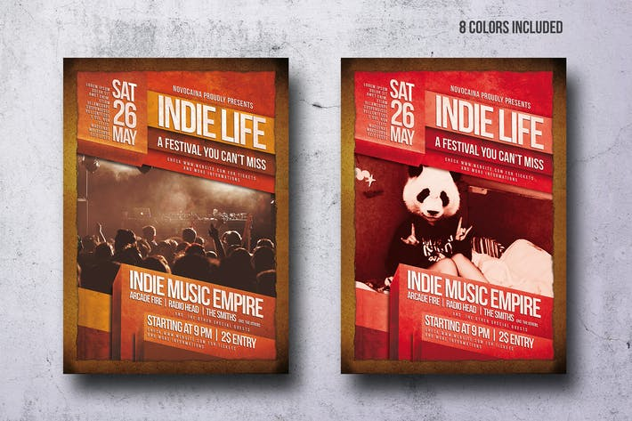 Thumbnail for Vintage Indie Party Flyer - 8 Colors - A4 & US Let