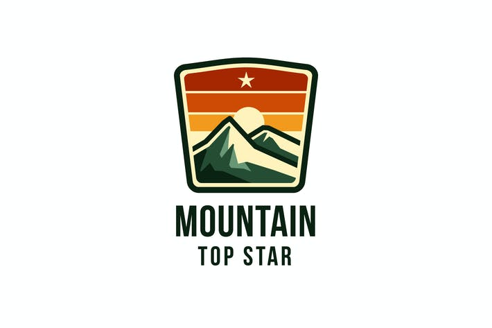Mountain Top Star Logo Template