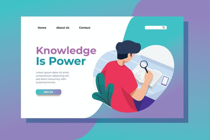 Cover Image For Knowledge is Power Landing Page Illustration
