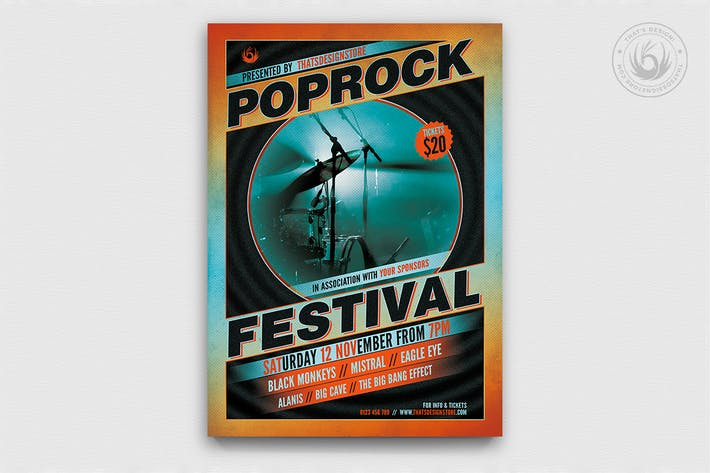 Cover Image For Pop Rock Festival Flyer Template