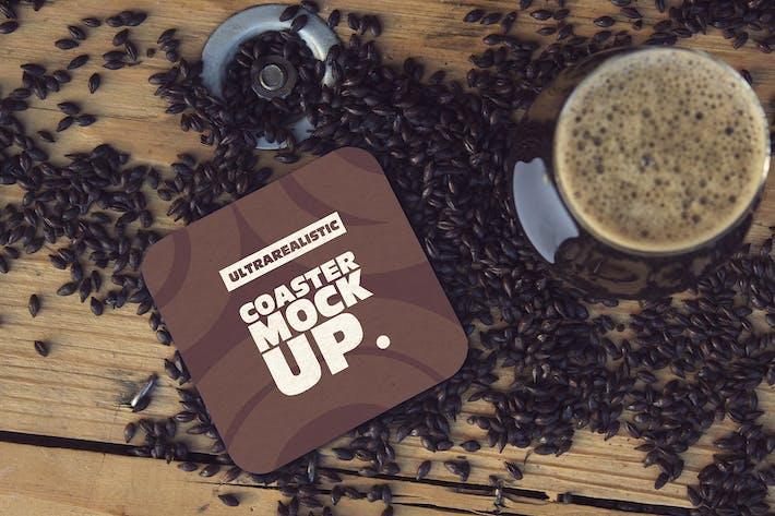 Thumbnail for Square Coaster & Cup Black Malt Mockup