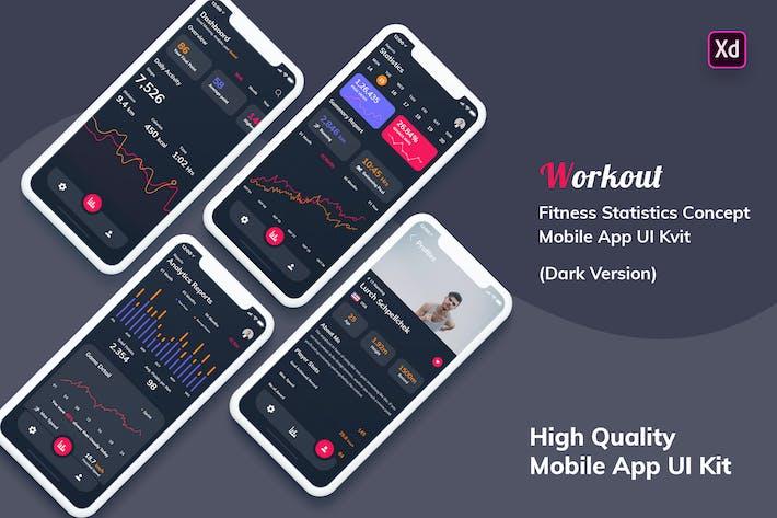 Thumbnail for Fitness Statistics Mobile App Dark Version (XD)