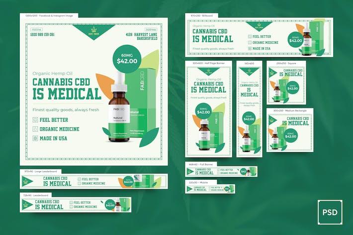 Thumbnail for Cannabis Hemp Oil Banners Ad PSD Template