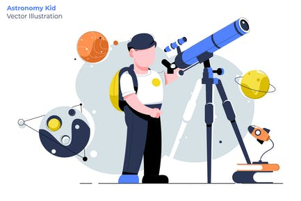 Astronomy Kid - Vector Illustration