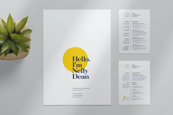 Thumbnail for Resume Layout with Yellow Accents