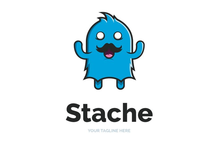 Thumbnail for Moustache Monster Logo Template