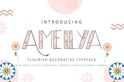Amellya | Flourish Decorative Typeface