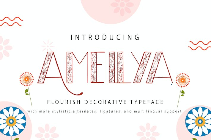Thumbnail for Amellya | Flourish Decorative Typeface
