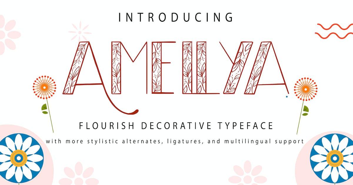Download Amellya   Flourish Decorative Typeface by Vunira