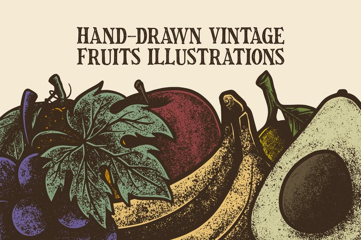 Thumbnail for Hand-Drawn Vintage Fruits Illustrations