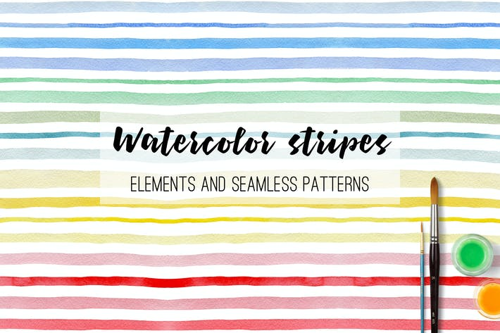 Thumbnail for Watercolor Stripes and Patterns