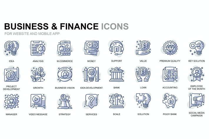 Thumbnail for Business and Finance Thin Line Icons