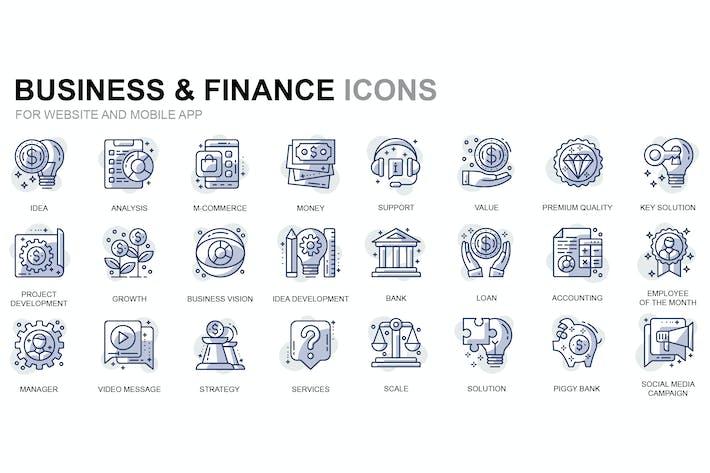 Thumbnail for Íconos de líneas finas de Negocios y finanzas