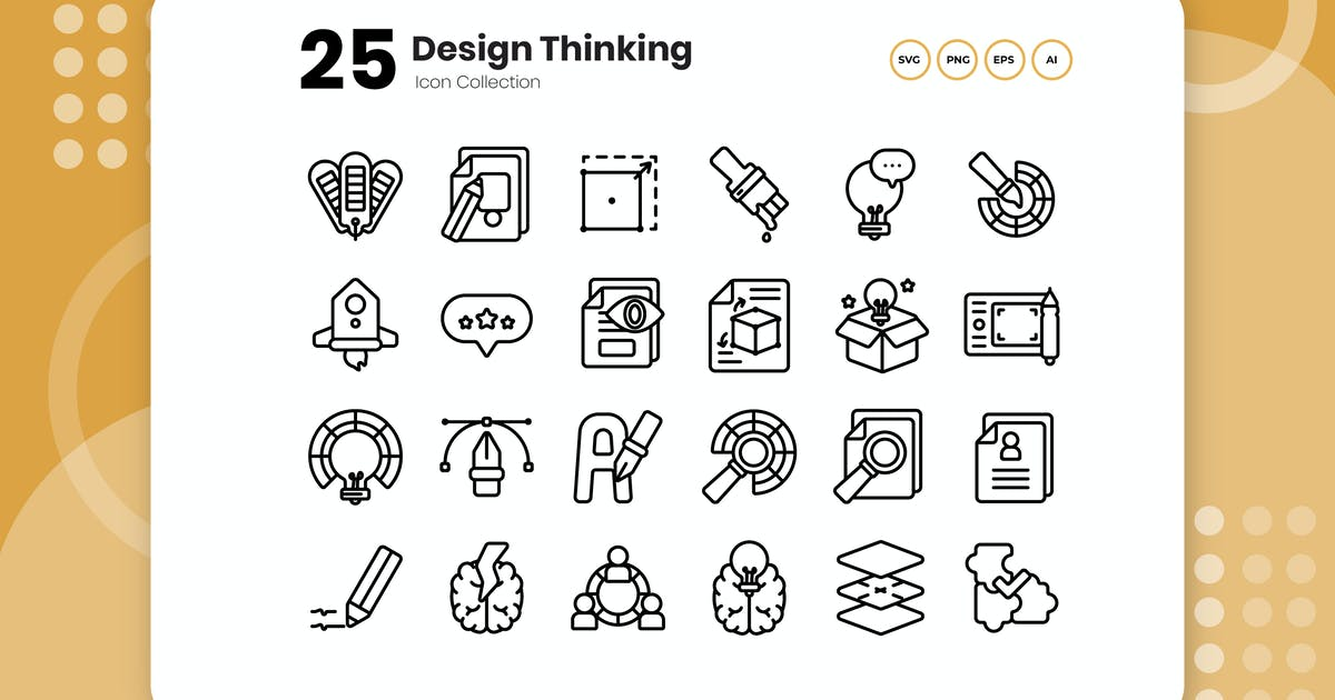 Download 25 Design Thinking Outline Icon by vectorclans