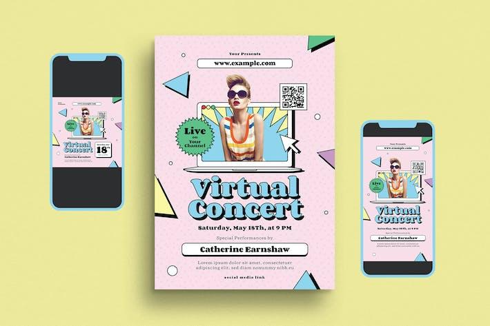 Thumbnail for Ensemble de dépliant de concert de musique virtuelle des années 90