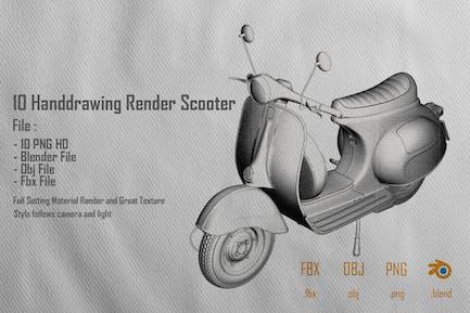 10 Handdrawing Render Scooter