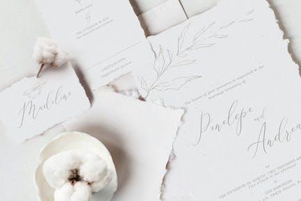 Elegant Floral Wedding Invitation Suite