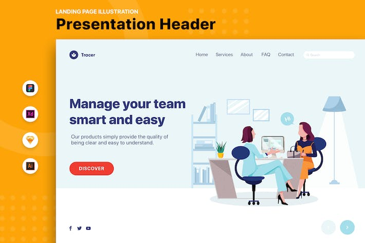Business Woman and Client in Office Landing Page