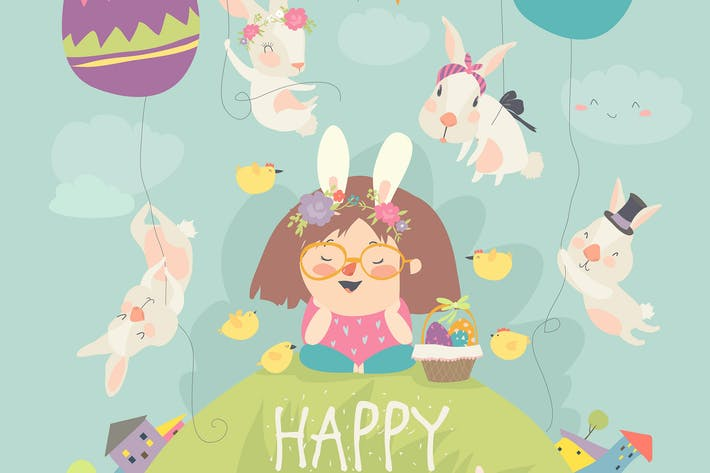 Cover Image For Cute little girl with Easter bunnies. Happy Easter