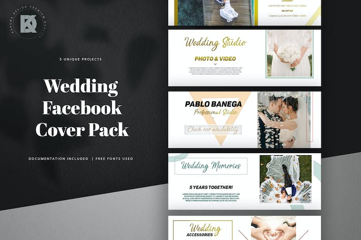 Thumbnail for Wedding Facebook Cover Kit