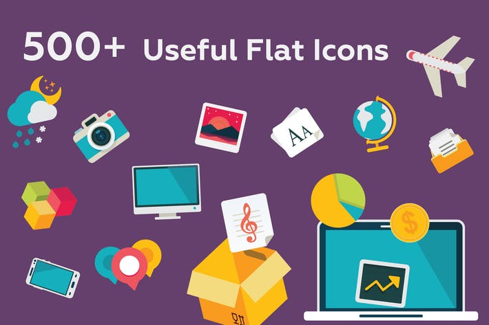 Thumbnail for 527 Useful Flat Icons