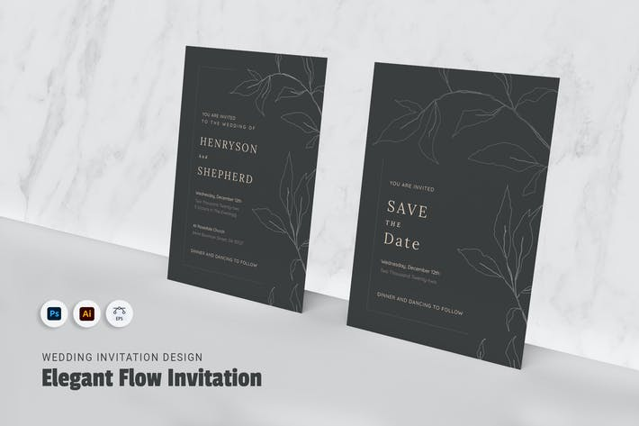 Thumbnail for Elegant Flow Wedding Invitation