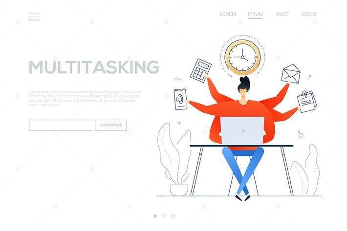 Thumbnail for Multitasking - flat design style colorful banner