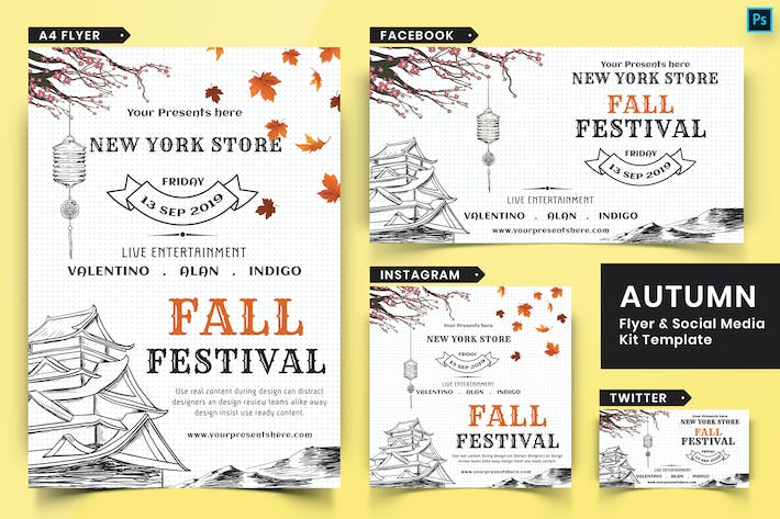 Thumbnail for Autumn Festival Flyer & Social Media Pack-05