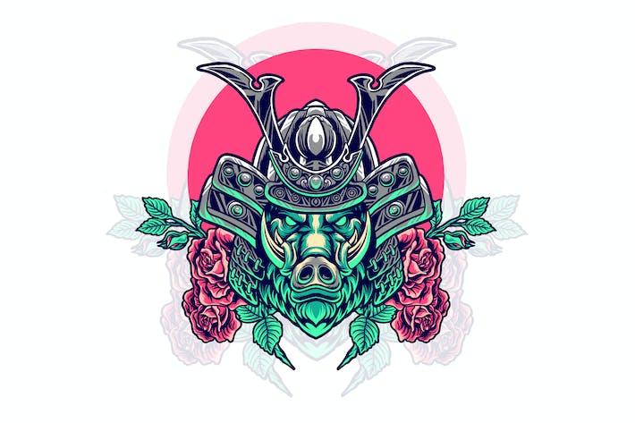 boar samurai with rose illustration